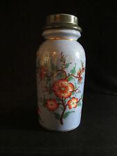 ancien pot à tabac porcelaine et étain décor fleur peint chinoisant  fin XIX ème