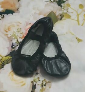 Angelo Luzio Black Leather Toddler Full Sole Leather Ballet Shoe 8