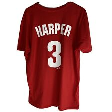 Philadelphia Phillies 3 Bryce Harper MLB Tee Shirt Mens Size Large Red