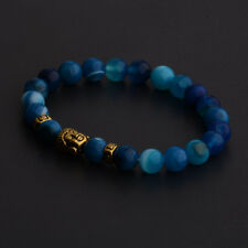 Men Buddha Head Agate Gemstone Beads Healing Energy Bracelets Charm Jewelry Gift