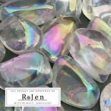 LARGE SUPER SHINE Angel Opal aura Clear Quartz Tumbled Stones Reiki Chakra Pagan