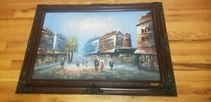 """Moulin Rouge Original Oil Painting on Canvas French Signed Joyce 23"""" by 35"""""""