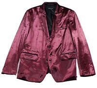 INC Mens Suit Separate Red Large L Slim Fit Peak Lapel Velour Blazer $125 010
