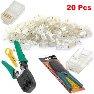 Network LAN RJ45 Cat 5e Cat 6 Ethernet Cable Crimping Stripper Tool + Connectors