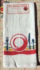 SET THE TABLE - Retro Vintage Style Cotton Flour Sack 50's Kitchen Towel