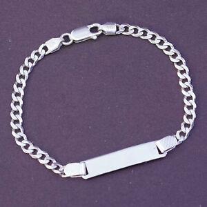 "6.25"", Sterling silver handmade curb bracelet, 925 curb chain w/ blank name tag"