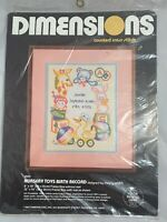 Dimensions NURSERY TOYS BIRTH RECORD Counted Cross Stitch Kit #3505 NOS