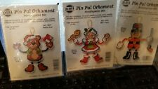 Set of 3 Pin Pal Ornaments Needlepoint kits Tin Soldier, Mrs.Claus & teddy bear