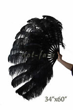 "XL 2 layers Black Ostrich Feather fan 34""x 60"" with Travel leather Bag"