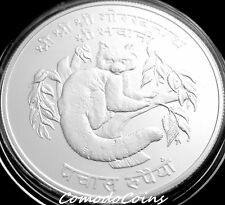 1974 Nepal 50$ Fifty Rupee Silver Proof Coin WWF Concervation Wildlife Red Panda