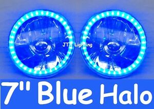 "1pr Blue LED Halo 7"" Round Headlights fits Land Rover Defender 90 110 130"