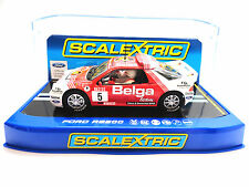 "Scalextric ""Belga"" Ford RS200 DPR W/ Lights 1/32 Scale Slot Car C3637"