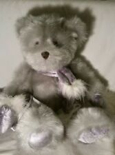 "G. A. C. Silver Plush Teddy Bear, With Silver Drawstring Pouch,  2000, 14"""