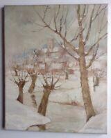 Tableau ancien Impressionniste Paysage Effet de neige Huile signée