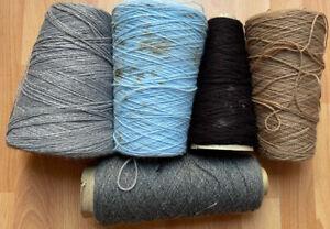 Machine Knitting Yarn 5x Vintage Cone 798 grams 4ply Mixed Lot B611