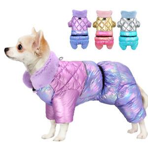 Hundemantel Wintermantel Hundejacke Hunde Kleidung Winter Hundeanzug Blau Lila