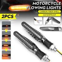 Moto Luces de Giro LED que Fluye Indicador Lámparas Fibra de Carbono 12V 2pcs