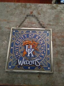 VINTAGE UNIVERSITY OF KENTUCKY WILDCATS HANGING GLASS PICTURE-BRAND NEW-A MUST!!