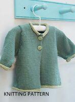 (526) Baby Cardigan Copy Knitting Pattern, Easy Knit Design in Aran yarn
