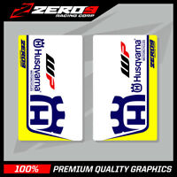 HUSQVARNA SE1 UPPER FORK DECALS WHITE BLUE MOTOCROSS GRAPHICS MX GRAPHICS