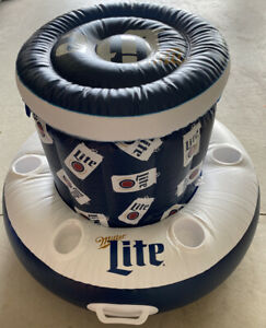 NIB! MILLER LITE INFLATABLE POOL FLOAT COOLER WITH SIX CUP HOLDERS