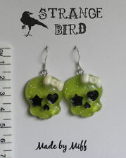Violent green girly skulls! earrings emo goth punk bow