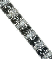 Cubic Zirconia Black and White Sparkling 7.5inch Sterling Silver Bracelet