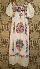 vtg hippie oaxacan embroidered floral festival maxi boho mexican wedding dress