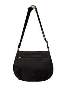 TORY BURCH Black Nylon Messenger Crossbody Shoulder Flap Bag