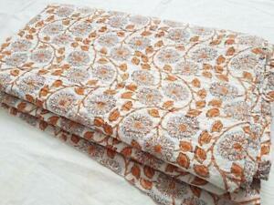 New Indian Cotton Hand Block Print Kantha Quilt Coverlet King Bedspread Blanket