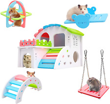 New listing Hamster Toys Set - Hamster Hideout, Diy Wooden Hamster House, Cage Accessories,