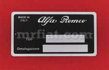 Alfa Romeo Spider VIN ID Plate 85x45 mm New