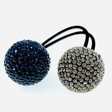 Hair Rope Wrap use Swarovski Crystal Ball Hairpin Ponytail Holder Nave Blue Gray