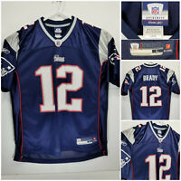 Reebok Authentic Tom Brady #12 New England Patriots Jersey Mens Large Blue