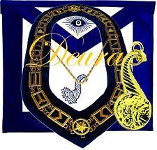Masonic Master Mason Senior STEWARD GOLD TONE Jewel Collar and EMBROIDERED Apron