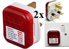 2x Easy Use Mains Socket Tester 3 Pin Electrical Power Safe Check Fault Detector