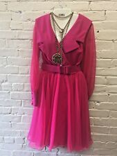 Vtg M-L 80s Pink Chiffon Party Dress MMonroe COCO Calif Dance Swing Rockabilly