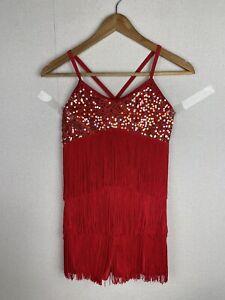 Mi Dee Dance Costume Size LC Red Sequin & Tassel Biketard Short 11-13 Years K722