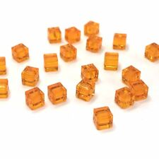 24 Swarovski 5601 Crystal Cube Bead 4mm Jewelry orange SUN (248) *Clearance SALE
