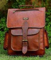 Men's Genuine Leather Vintage Laptop Backpack Rucksack Messenger Bag Satchel 16""
