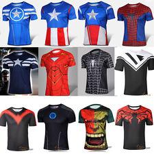 Herren Marvel Comics Superhero Kostüm T-Shirt Avengers Radtrikot Kurzarm Trikots