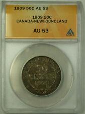 1909 Canada Newfoundland 50 Cents Half Dollar Silver Coin ANACS AU-53