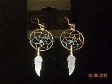 Zuni Indian Sterling Silver Turquoise Bead Dreamcatcher Silver Dangle Earrings