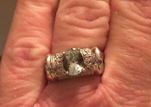 Laura Ramsey Gems At Large Aquamarine & Diamond Ring Size 7