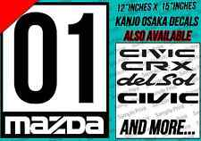 MAZDA Racing Door Sticker Decal  MAZDA MIATA PROTEGE MX5 MX3 RACING NUMBER