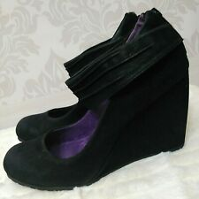 Blowfish Ankle Strap Wedge Heels US Size 9 Black Vegan Faux Leather Shoes