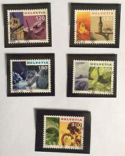 5 timbres suisses YT CH1654A/1654C + CH1669/70, Zum:CH 1000/1004 oblitérés 1er j