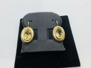 14k Italian Gold,  Citrine Dangle Gemstone Earrings