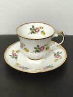 Elizabethan England Fine Bone China Teacup & Saucer Pink Yellow Roses #3284