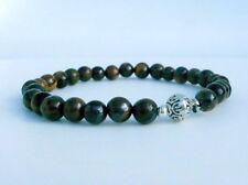 Tigerauge Armband Oriental Ornament Braun Goldgelb Silber Stretch Elastisch